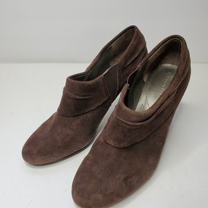 Tahari Brown Suede Heeled Booties - Size 7.5M